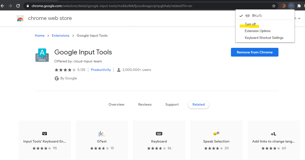 turn off google input tools disable.