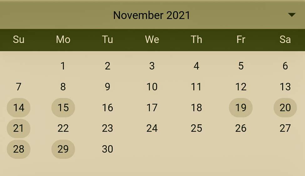 Hindu Pelli muhurthalu in November 2021