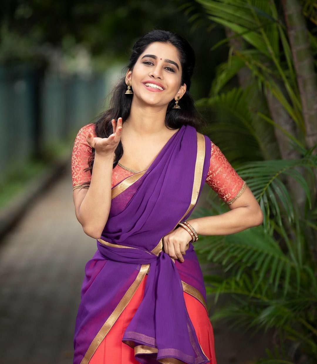Nabha natesh in half saree