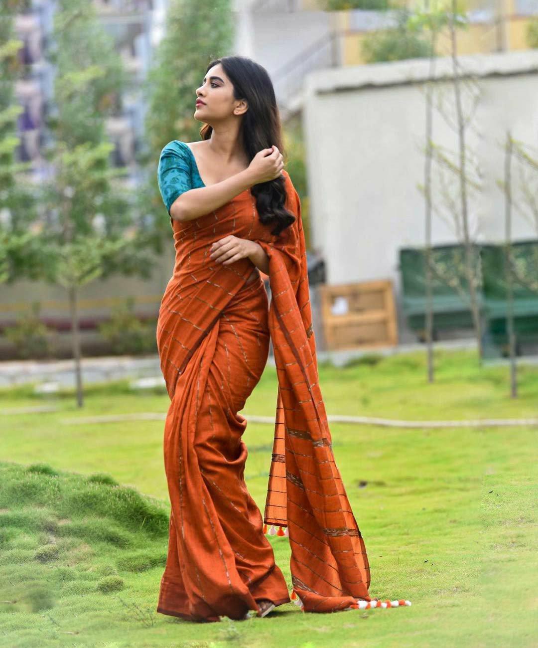 Nabha Natesh hot in orange saree